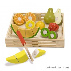 Melissa & Doug Cutting Fruit Set - Wooden Play Food Kitchen Accessory - Sale