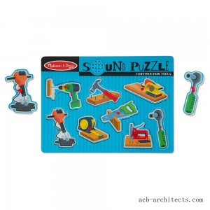 Melissa & Doug Construction Tools Sound Puzzle - Wooden Peg Puzzle (8pc) - Sale