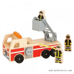 Melissa & Doug Wooden Fire Truck With 3 Firefighter Play Figures - Sale