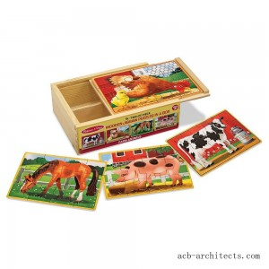 Melissa & Doug Farm 4-in-1 Wooden Jigsaw Puzzles in a Storage Box (48pc total) - Sale